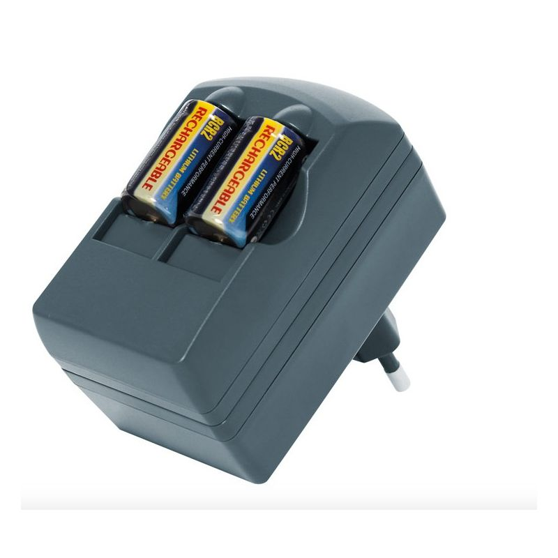 Caricabatterie + batterie ricaricabili CR123