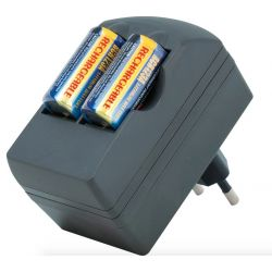 Ladegerät + wiederaufladbare Batterien CR123A